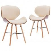 vidaXL Трапезни столове, 2 бр, кремави, изкуствена кожа и извито дърво