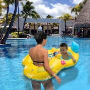 Madre Y Bebé Nadar Anillo Flotador Barco Inflable Piscina Combinado Nadar Jugar Silla Niño Asiento Seguridad Natación Anillo-Amarillo