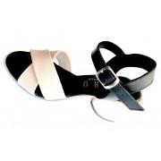 ESTRO Made in Italy Sandalo Con Tacco E Doppia Fascia Incrociata - Rosa E Nero - Estro Made In Italy - R-408-19