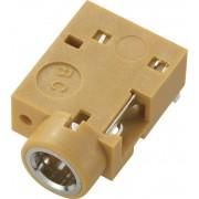 Soclu jack pentru montare, Ø interior 3,5 mm, soclu mama, conexiune prin lipire, instalare pe circuite imprimate 90˚, maro