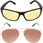 Aligatorr Aviator, Retro Square Sunglasses(Blue, Brown)