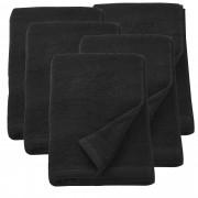 [neu.haus] 5x Toallas de rizo - 70 x 140 cm - Set de Sábana de baño - Toalla grande - 100% algodón 450 g/m² - Negro