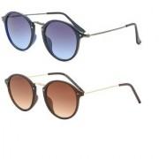 Code Yellow Combo Of Black Brown Round Sunglasses