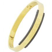 ZIVOM Italian Designer 18K Gold Black 316L Surgical Stainless Steel Openable Kada Bangle Bracelet Stylish Men