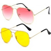 Elligator Aviator Sunglasses(Pink, Yellow)
