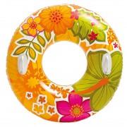 Intex Opblaasbare oranje bloemen zwemband/zwemring 97 cm