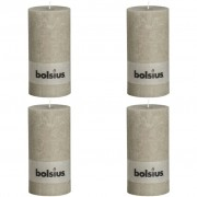 Bolsius 4 x Rustic Pillar Candle 200 100 mm Pebble Grey