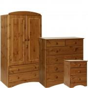 Scandi Pine Bedroom Set - Bedside, 2+4 Chest & 2 Door Combi Wardrobe - Furniture Sets