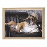 Merkloos Schootkussen/laptray grappige Engelse bulldog honden print 43 x 33 cm