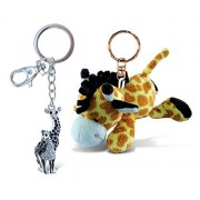 Puzzled Giraffe Super Soft Plush And Sparkling Charm - Zoo Animals Theme Set Of 2 Unique Useful Gift Souvenir (K5823 6617)