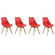 Happy Garden Lot de 4 chaises scandinaves NORA rouge avec coussin