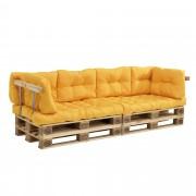 en.casa] Set de 8 cojines para sofá-palé - cojínes de asiento + cojines de respaldo acolchados [mostaza] para europalé In/Outdoor