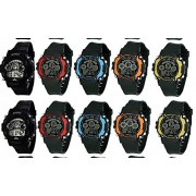 Skylofts Unisex Silicone Sports Digital LED Bracelet Band Multi-Functional Watch with 7 Colour Lights (Multicolour) - Pack of 10
