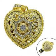 Civetman Gold 64GB Classical Diamond Crystal Heart Forma USB Flash Drive con Collar