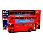 London Double Decker Red Bus Mini Model with Pull Back & Go Action Made of Die Cast Metal and Plastic Parts