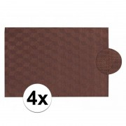 Geen 4x Donkerbruin gevlochten placemat van kunststof 45 x 30 cm