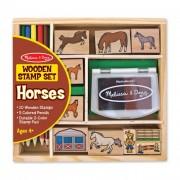 Melissa & Doug Fa nyomda készlet ceruzákkal, lovak