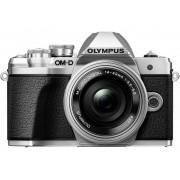 Olympus Digitalkamera Olympus OM-D E-M10 M 14-42 mm + 40-150 mm 17.2 Megapixel Silver WiFi, Full HD Video, Optisk bildavsökare, Elektronisk sökare, med inbyggd blixt, Blixtskon, Live-View
