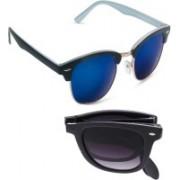 Vast Wayfarer, Clubmaster Sunglasses(Grey, Blue)