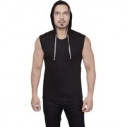 Dudlind Mens Casual Hooded Sleeveless T-Shirt Colour Black Regular Fit | Casual Shirts for Mens Regular wear and Party wear