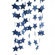 Furuix 2pcs Mini Navy Blue Paper Star Garland Star String for Hanging DÃcor Wedding Baby Shower Party Decoration Outer Space Decor Birthda Decorationy