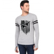 TRENDS TOWER Full Sleeve Round Neck Thumb Ring Mens T-Shirt Grey-Melange Color American Eagle Graphics Print