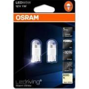 Set 2 becuri auto cu LED Osram W5W 12V 1W W2.1x9.5d Warm White