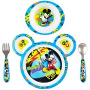 The First Years Mickey Feeding Set Polypro with Easy Grasp Flatware Pack of 3 (Multicolor)