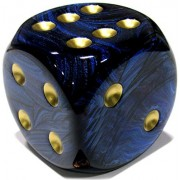Custom & Unique {Jumbo Massive Huge Xxl 50mm} 1 Ct Single Unit Of 6 Sided [D6] Square Cube Shape Playing & Game Dice W/ Rounded Corner Edges W/ Agate Stone Swirl Pearl Design [Blue, Black & Gold]