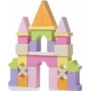 Jucarie din lemn, Cubika, Set constructii Castel, Multicolor