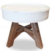 vidaXL Salontafel 60x45 cm massief gerecycled hout wit