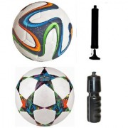 Kit of Multicolor Brazuca Football + Multistar UEFA Champions League Football (Size-5) - Pack of 2 Balls with Air Pump & Sipper