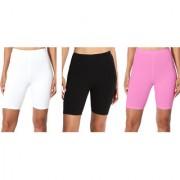 Jakqo Women's Cotton Bio-Wash Shorties (Free Size Pack of 3 White Black Baby Pink)