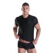 Lookme OPEN HEART Sheer Zipper Short Sleeved T Shirt Black 28-81
