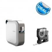 Imprimanta Etichete Bluetooth Dymo MobileLabeler si o caseta etichete profesionale D1 9 mm x 7m negru alb 1978246 53713 40913