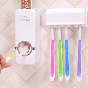 Automatic Toothpaste Dispenser +Toothbrush Holder Set Family Set Wall Mount Rack Bath Oral