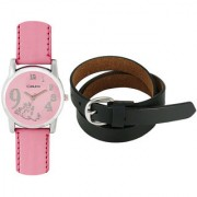 Crude Smart Combo of Analog Watch-rg173 With Leather Belt for - Women's Girl's
