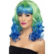 Vegaoo Blau-grüne Locken-Perücke für Damen