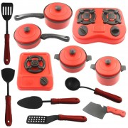 12Pcs Juguetes De Utensilios De Cocina 360DSC - Rojo