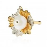 Iris Anello in argento 925 con design floreale e topazi