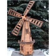 Windmühle Drew-Handel W71/D 170cm hölzerne Windmühlen-Gartenverzierung aus wetterbeständigem Weichholz