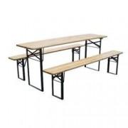 Set mobilier gradina masa si 2 banci Strend Pro Dortmund 220 x 70 x 77 cm cadru metal blat din lemn