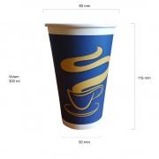 Blue pahare carton 12 oz 300 ml set 50 buc