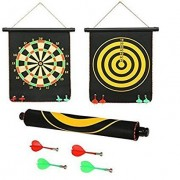 Protokart Foldable Double faced Portable and Non Pointed Magnetic Darts Game with Strong and Powerful Magnets, 12-inch, Big (Black)