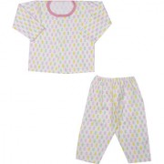 Teddy Print Night Suit - Pink ( 0-3 Month)