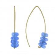 Les Poulettes Bijoux Boucles d'Oreilles Laiton et Petits Disques de Verre - Bleu Navy