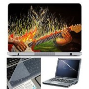 FineArts Laptop Skin 15.6 Inch With Key Guard & Screen Protector - Guitar Fire Painting