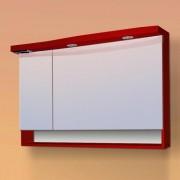 Dulap baie cu oglinda si iluminare Sanotechnik Roma 110, bordeaux | stanga