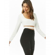 Forever21 Long Sleeve Cutout Crop Top IVORY