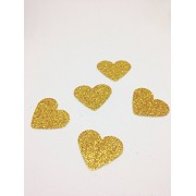 Luvish Creation Glitter Heart Shape Cut Out, Glitter Heart , Glitter Confetti, Birthday Party Decorations ,Party Confetti Table Scatter Decor, Valentines Decoration (Gold, 200 PC)
